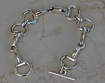 Large Equestrian Sterling Silver Horse Snaffle Bit Bracelet