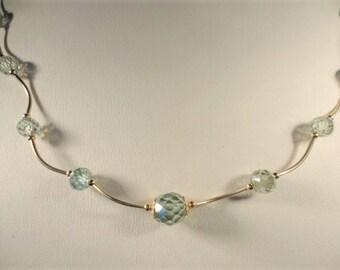 17.80ct fancy faceted ligh blue diamond bead necklaces, diamond necklace yellow gold, blue diamond necklace,  unique necklace for women,