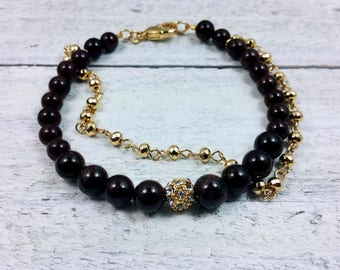 Garnet Bead — Garnet Jewelry — Gold and Garnet — January Birthstone — Semi-Precious Gemstone Bracelet — Garnet Bracelet — Gold Bracelet