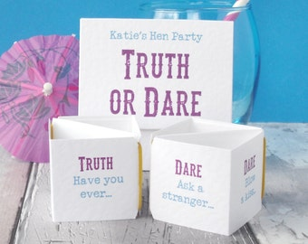 Hen Party Game - Truth or Dare - Funny Hen Do Game - Hen Night Activity - Dares for a Hen Do - Hen Weekend Game -Bachelorette Party Game