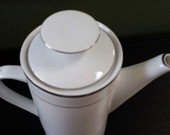 Vintage Sango Fine China Celebration Platinum trimmed coffee or teapot with lid #8452 hard to find affordable Kate Spade option