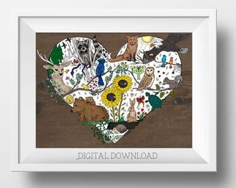 Woodland Nursery Art - Woodland Animal Art - Forest Nursery Decor - Forest Decor - Forest Animals - Woodland Wall Art - Forest Animal Art