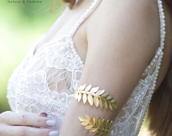 Upper Arm Cuff Bracelet, Gold Arm Band, Gold Leaf Bracelet, Greek Goddess Upper Arm Bracelet, Gold Arm Bangle, Bridesmaids Bracelet