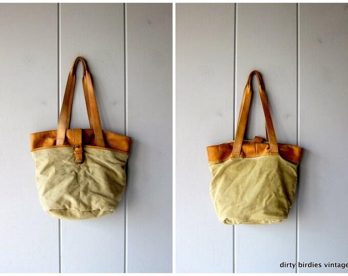 Vintage Canvas & Leather Shoulder Bag Unisex LL Bean Double Strap Tote Rugged Outdoors Travel Hiking Bag Tan Brown Canvas Shoulder Sling