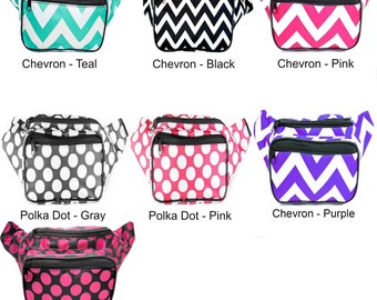 Chevron and Polka Dot Fanny Pack back by SoJourner Bags (multiple colors & variations)  **FREE SHIPPING*