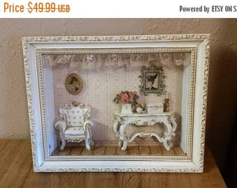 On Sale Victorian Shadow Box Wall Hanging/Home Decor  French Provincial Living Room Scene with White and Gold Frame