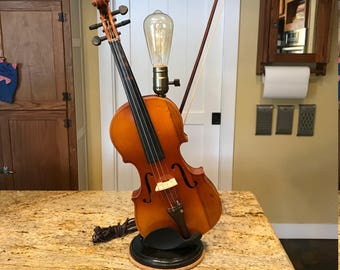 Steampunk Violin Lamp Handmade and Unique!