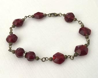 Red antiqued brass bracelet red beaded vintage style bracelet