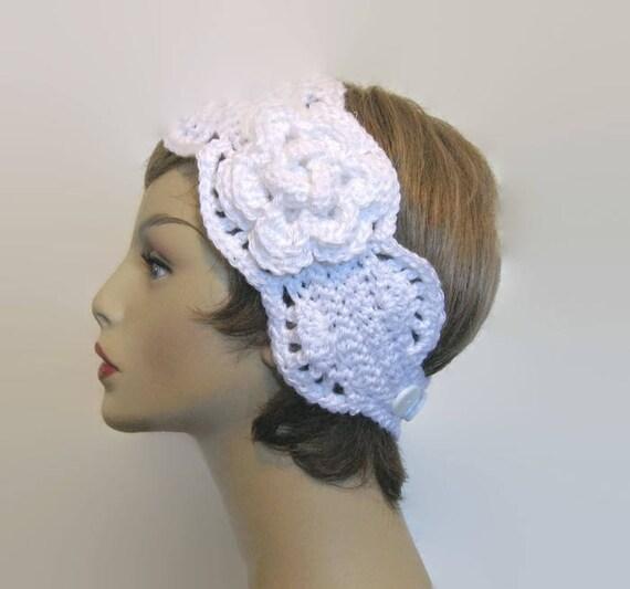 Weiß häkeln Stirnband mit Blume häkeln Stirnband stricken Kopf