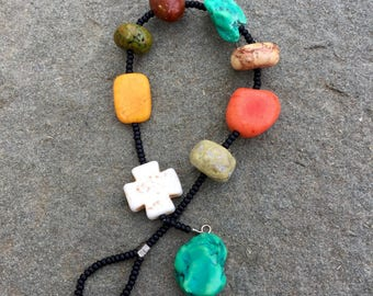 Rainbow turquoise with coral Howlite cross prayer bracelet- Anglican/ Protestant rosary bracelet