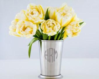 Monogram Mint Julep Cup Stainless Steel Cup Steel Flower Vase Metal Vase Custom Wedding Gift Engraved Cup Monogram Vase Minimalist Décor