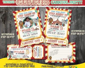 Circus Invitation-Vintage Circus Birthday Invitation-First Carnival Birthday Party Invite-1st birthday Invite-Printable Party Invitation