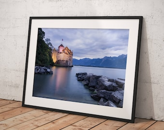 Fine Art Print of the Chillon Castle on the shore if the Geneva Lake, Montreux, Vaud, Switzerland - Wall Art - Landscape Photography