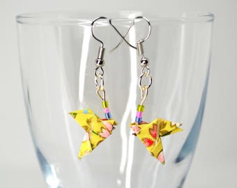 Floral Mini doves yellow Origami earrings