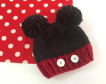 Baby, Child, Kids, Adult double pompom Minnie/Mickey inspried knit winter hat, Red & Black - MADE TO ORDER