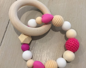 Sensory Teething Ring, On-Trend Natural Wood, Silicone and Crochet Beads, Pinks