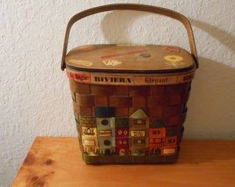 Vintage purse by Caro-Nan, 60's basket purse, 60's novelty purse, hand painted, handbag by Caro-Nan, decopage