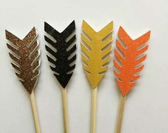 24 PCS GLITTER MIX Arrow Cupcake Toppers , Birthdays, Party Decor, Weddings, Baby/Bridal Showers