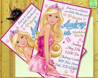 Barbie Invitation.Barbie Birthday.Barbie Card.Barbie Printable.Barbie Digital Download.Barbie-G2