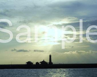 Sunset Lighthouse 5x7 Photograph