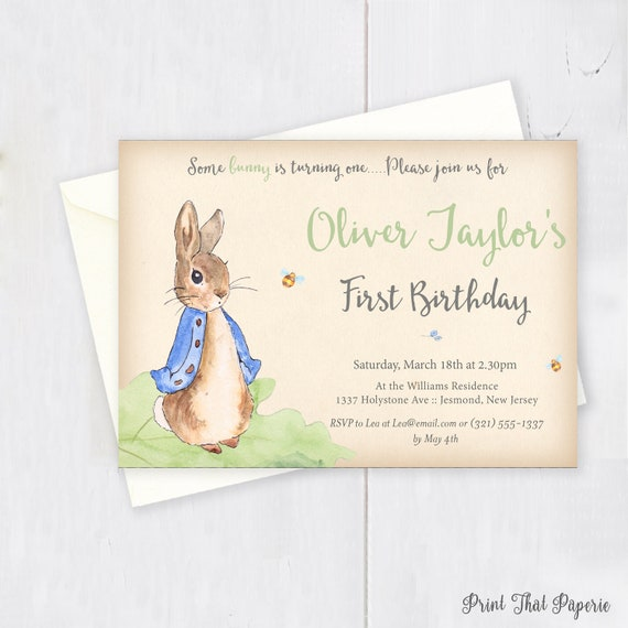 Peter rabbit birthday invitation first birthday invitation filmwisefo