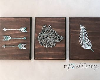 Love and Nature String Art- set of three