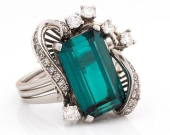 Circa 1940s Vintage Statement Ring ft. 5ct Teal Tourmaline & Diamonds, Platinum Crafted, ATL #539