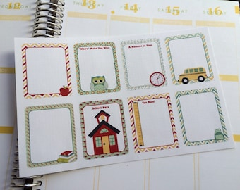 Planner Stickers 8 Full Boxes Back To School Fits Erin Condren Planner