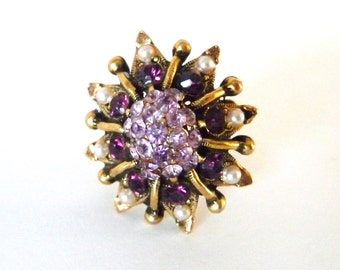 Amethyst Glass and Rhinestone Adjustable Ring Antique Gold Tone Metal from TreasuresOfGrace