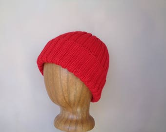 Bright Red Hat, Hand Knit, Watch Cap, Warm Wool Beanie, Teens Men Women, Jacques Cousteau Style, Fashionable Cap