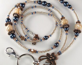 Beaded Lanyard MOONLIT WATERS Glass and Pearls ID Badge Holder
