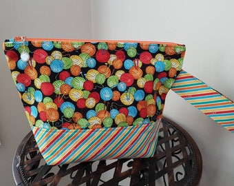 Made TO Order Medium Yarn Themed  Project Bag for Knit and Crochet -Rainbow -Cosmetic Bag -Yarn Storage -Knitting Bag