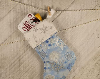 Christmas Mini Stocking, Gift Card Holder Silver Snowflakes Ready To Ship