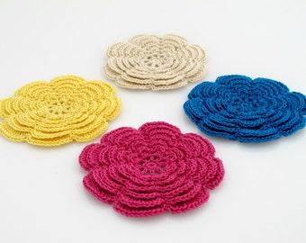 Irish Flower Coaster Set. Crochet. Applique.