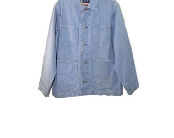 Vintage Denim Jacket Pinstripe Denim Jacket Engineer Jacket Engineers Jacket Vintage Denim Jacket