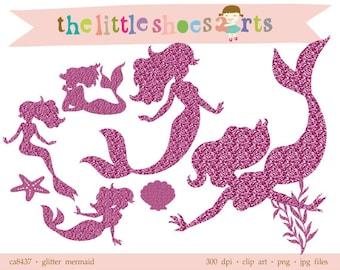 Glitter Mermaid Digital Clipart, Pink Digital Clip art, Embellish digital scrapbooking, DIY iron on INSTANT DOWNLOAD