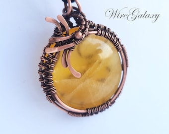Pendant Orange Stone Necklace Wire wrap Anniversary gifts Medallion Protection Amulet Power Pendant Wire Wrapped Calcite Crystal Healing