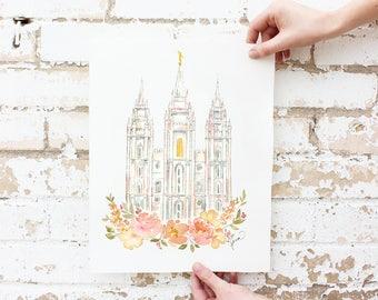 Blush Flowers SLC Temple Watercolor Print, Salt Lake City Utah