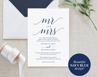 Navy Wedding Invitation, Wedding Invitation Template, Winter Wedding, Navy Wedding Printable, Wedding Invite, Instant Download #BPB320_1B
