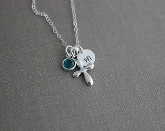 Personalized Charm Necklace with Sterling Silver Cross, Swarovski Crystal Birthstone and Initial Charm, Puffed Cross, Faith Necklace