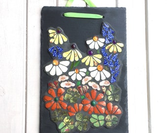 Mosaic Art ~ Recycled Garden Art ~ Floral Wall Hanging ~ Gift for Her ~ Unique Gift~ Ecofriendly Gift ~ Decorative Wall Plaque