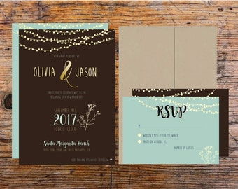Printable Wedding Invitation Vintage Glam baby breath and lights