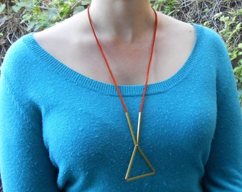 Geometric Brass Necklace in Triangle