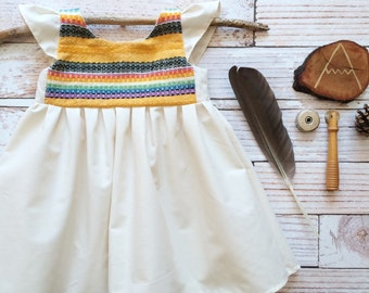 Fiesta mexican woven Baby girl dress 12 month organic baby one year old girl birthday outfit clothes boho hippy bohemian south western style