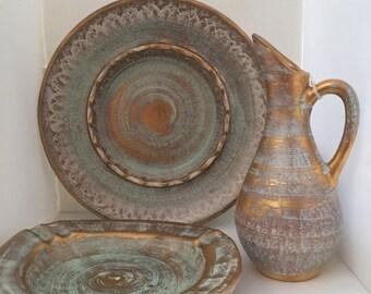 3 piece set/ Vintage 1950s Stangl Pottery Ceramic 22-Karat Antique Gold