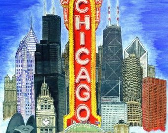 The Chicago Theater Collage, a collection of famous Chicago architecture.   A print of the original painting by artist, Roseann Madia