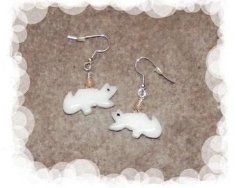 White Wolf Dangle Earring with Rose Quartz Gemstones