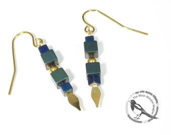 Geometric Earrings // Hematite // Green, Blue, & Gold