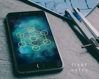 iPhone 6+/iPhone 7+/iPhone 8+/LG G4/Samsung Galaxy J7/Google Pixel XL Metatron's Cube Custom Background/Wallpaper