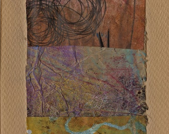 """Peek - Collage with Hand Painted Papers 4 x 5-1/2 on 6 x 8"""" Backing"""